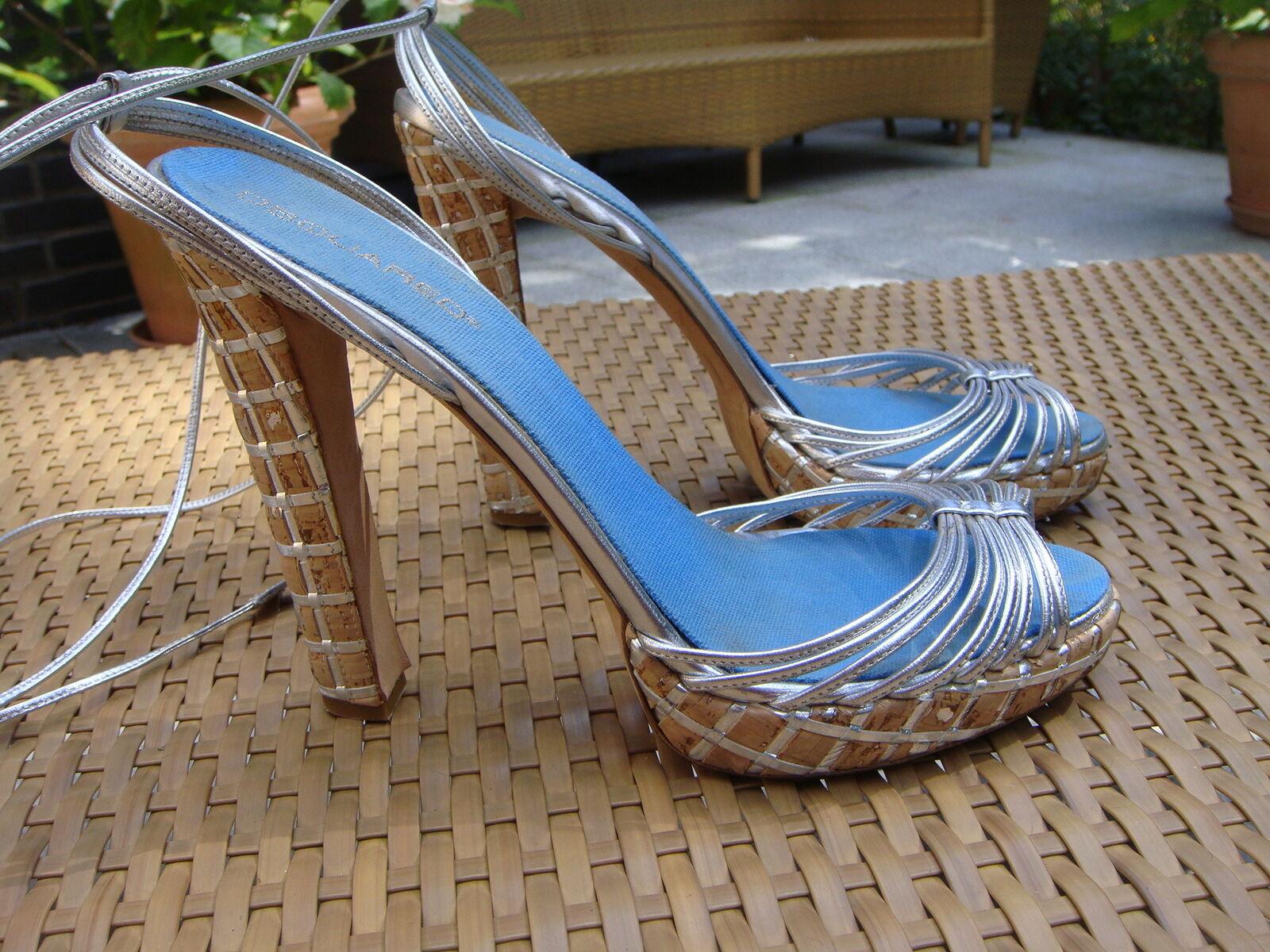 Schuhe von DSQUArot, Gr. 40 Silber,Absatz 14 cm Plateau 2 cm