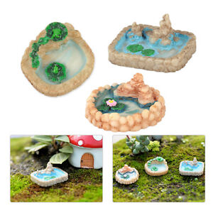 3stk-Miniatur-Landschaft-Teich-Puppenhaus-Harz-Handwerk-Garten-Landscape-DIY
