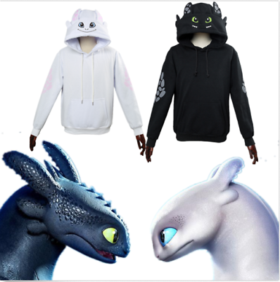 Dragon Toothless /& White Furry Pullover Hoodie Cosplay Sweatshirt Unisex Coat