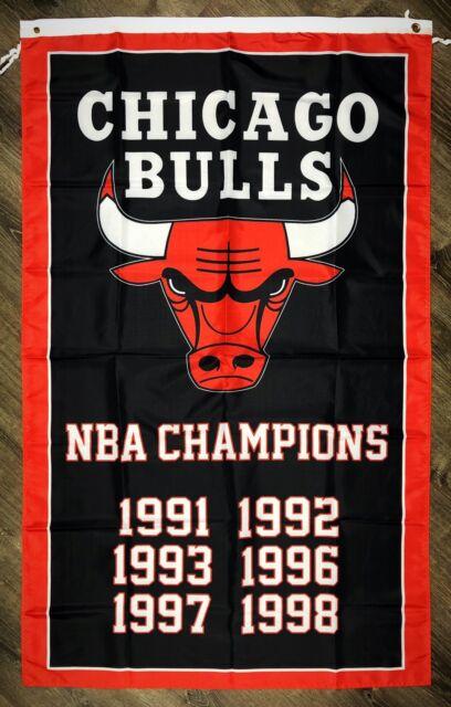 Chicago Bulls NBA Championship FLAG 3x5 ft Sports Black Banner Man-Cave Garage