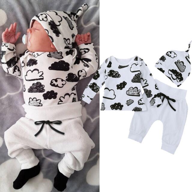 6-12M Newborn Outfits Baby Kids Boys Cloud Print T-Shirt Tops+Pants Clothes Set