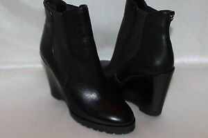 93ba9735584f NEW! MICHAEL KORS Black Leather THEA Pull On Ankle Wedge Boots 6.5 ...