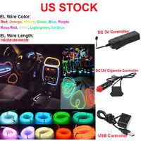 Led El Wire 1m/2m/3m/4m/5m Glow Light String Strip Rope Car Party + Controller