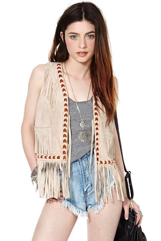 Women Sleeveles Western Wear Suede Leather Tan Fringe Native American Beads Coat