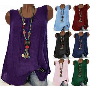 Plus-Size-Women-Cotton-Linen-Sleeveless-Baggy-T-shirt-Vest-Blouse-Tank-Top-S-5XL