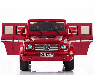 12v kids ride on car truck mercedes g55 battery power for Red mercedes benz power wheels