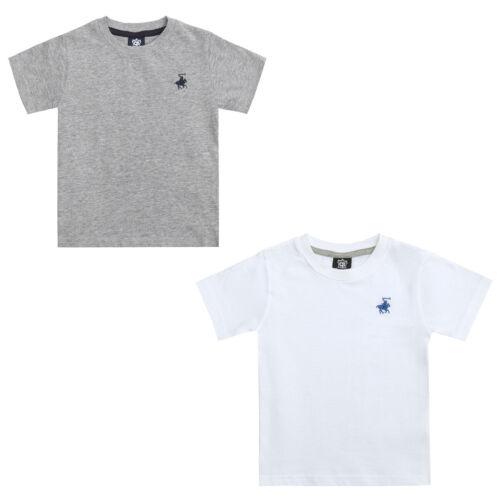 Boys T-Shirt Short Sleeve Top Summer Horse Logo 100/% Cotton Children/'s 7-13 Yrs