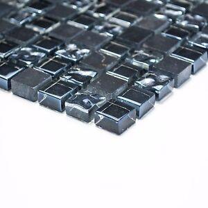 Das Bild Wird Geladen Mosaik Mix Grau Schwarz Glas Stein Fuer Bad