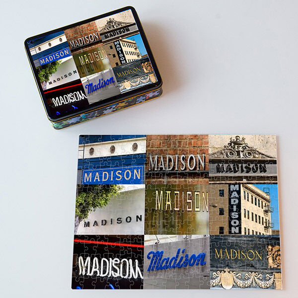 Personalized Puzzle featuring the name MADISON in actual sign photos