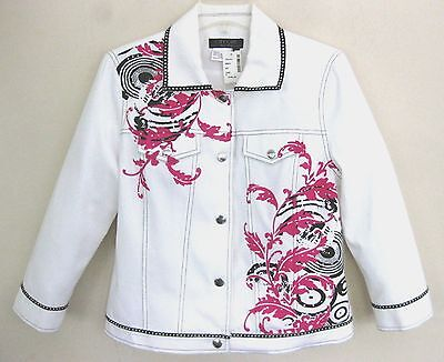 NWT Embellished jacket S $165 Cotton White Rhinestones Pink Black Fitted Western