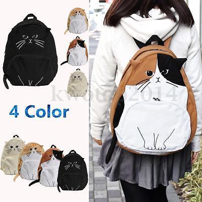 Fashion Cat Student Rucksack Cute Womens Backpack Girl Travel Hiking Bag Bookbag