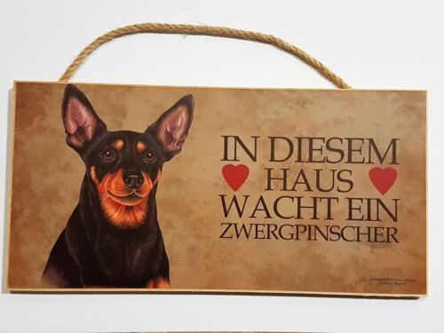 Holz Schild Hund Zwergpinscher Türschild Dekohänger Tierschild Deko Geschenk