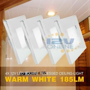 4x 12v led square recessed ceiling light rv camper trailer under