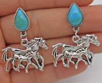 """1.57"""" Punk Double Runing Horses Steed Women Earrings Studs Retro Silver Tone New"""