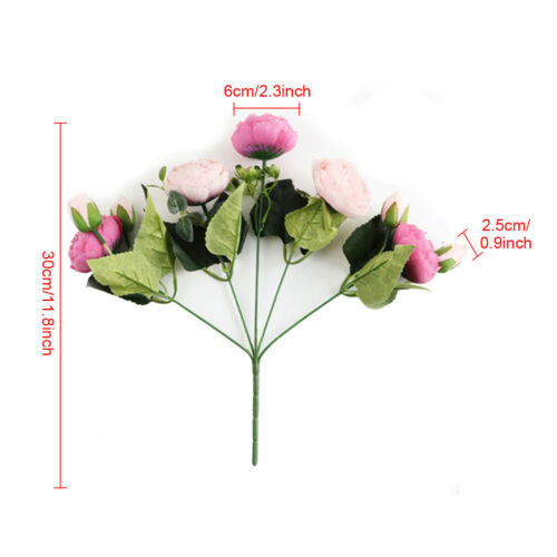 9 Heads Artificial Flowers Silk Peony Bouquet Fake Rose Wedding Home Party Decor