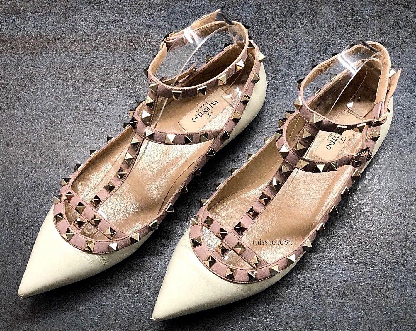 Valentino Garavani Ballerinas Rockstud Schuhe Creme Weiss 39,5 39 Blogger Gold