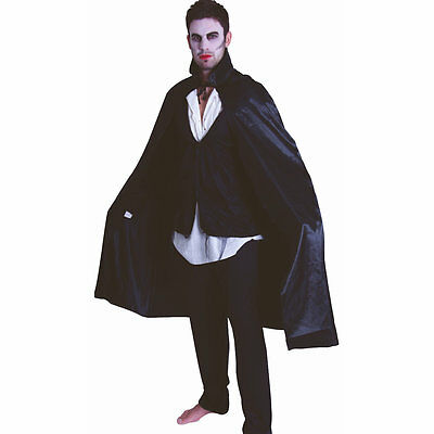 "Dracula Vampire Cape Black Polyester Taffeta 56/"" 142cm Long with stand up collar"