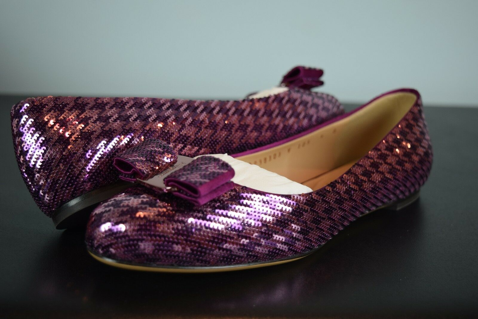NEW IN BOX  Salvatore Ferragamo Varina COO séquence Ballerina Flat chaussures sz 9 us Bow