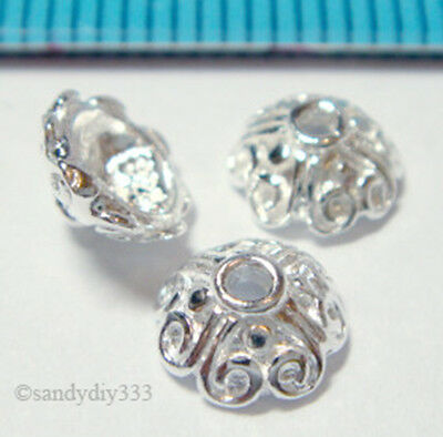 6x BRIGHT STERLING SILVER FLOWER BEAD CAP SPACER BEAD 6.5mm J040