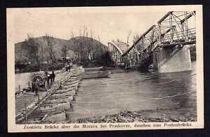 89734-AK-zerstoerte-Bruecke-ueber-die-Morava-bei-Praskovze-Pontonbruecke-1917