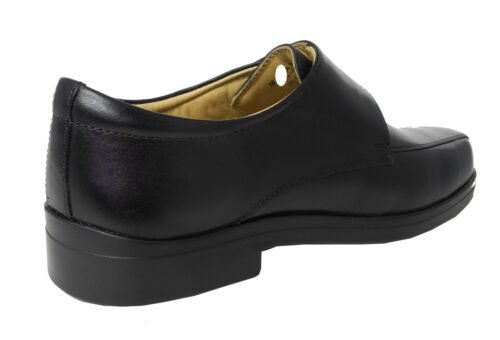 Mens Soft Leather XXX Extra Very Wide Fit Lightweight Strap Shoes Black Sz 6-14