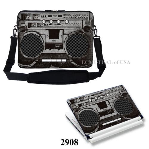 """Laptop Computer Sleeve Case Bag w Shoulder Strap /& Matching Skin Fit 17/"""" 17.3/"""""""