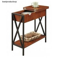 Flip Top Table End Wood Accent Black Side Storage Rectangle Hinged Small Cherry