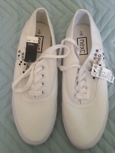 BN-Next-Ladies-Girls-White-Canvas-Lace-up-Plimsolls-Size-UK-5