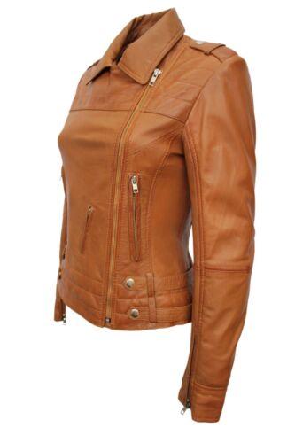 Tan Ladies Style Nappa Biker Leather Real Soft Jacket Luxury Design New wRxPFqIS5