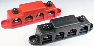 """4 Post Busbar Bus Bar Power Distribution 12V 250A 5/16"""" Red and Black Pair"""