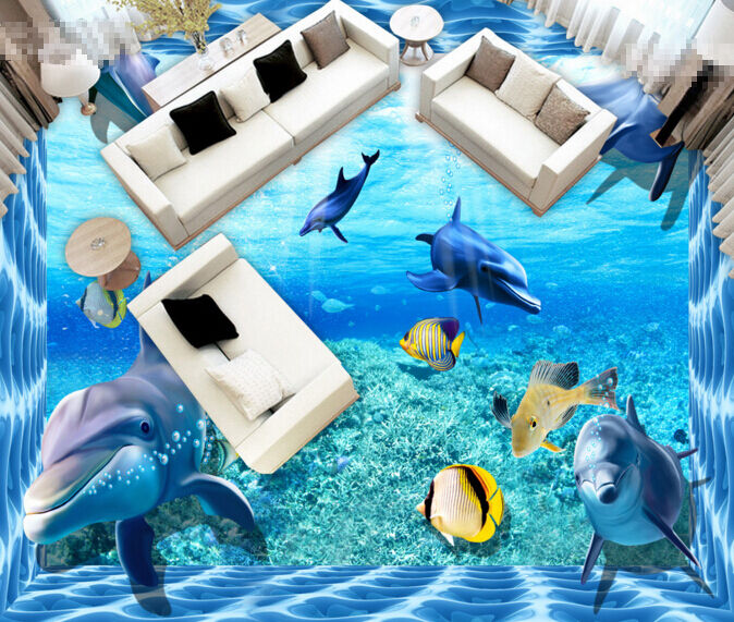 3D bluee Sea Dolphin 6 Floor WallPaper Murals Wall Print 5D AJ WALLPAPER UK Lemon