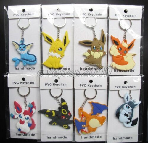 Lot Mixed Anime Pokemon Pikachu Double sided Rubber Key rings Key Chain N411