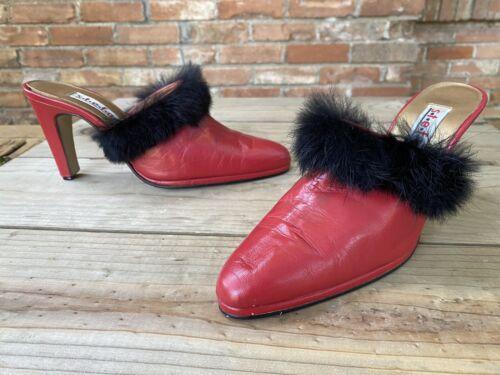 Vintage 80s Red Black Marabou Heels Mules Boudoir