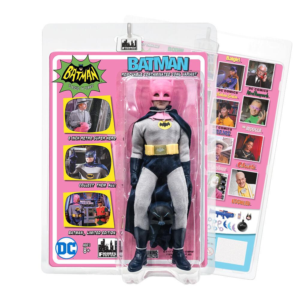 Batman 66 Classic TV Show Retro Style 8 Inch Figures  Pink Removable Cowl Batman