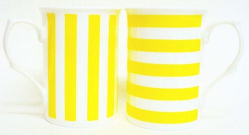 Lignes jaunes tasses set de 4 porcelaine fine mixte rayures mugs Main Décoré UK