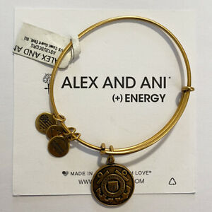 (3) Alex And Ani US Coast Guard Bangle Charm Bracelets Rafaelian Gold Finish