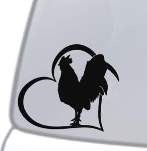 ROOSTER-HEART-Vinyl-Decal-Sticker-Car-Window-Wall-Bumper-Animal-Chicken-Bird