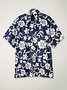7a54edbc6ad23 Men s Navy   White Hibiscus Hawaiian Print Short Sleeve Shirt 100 ...