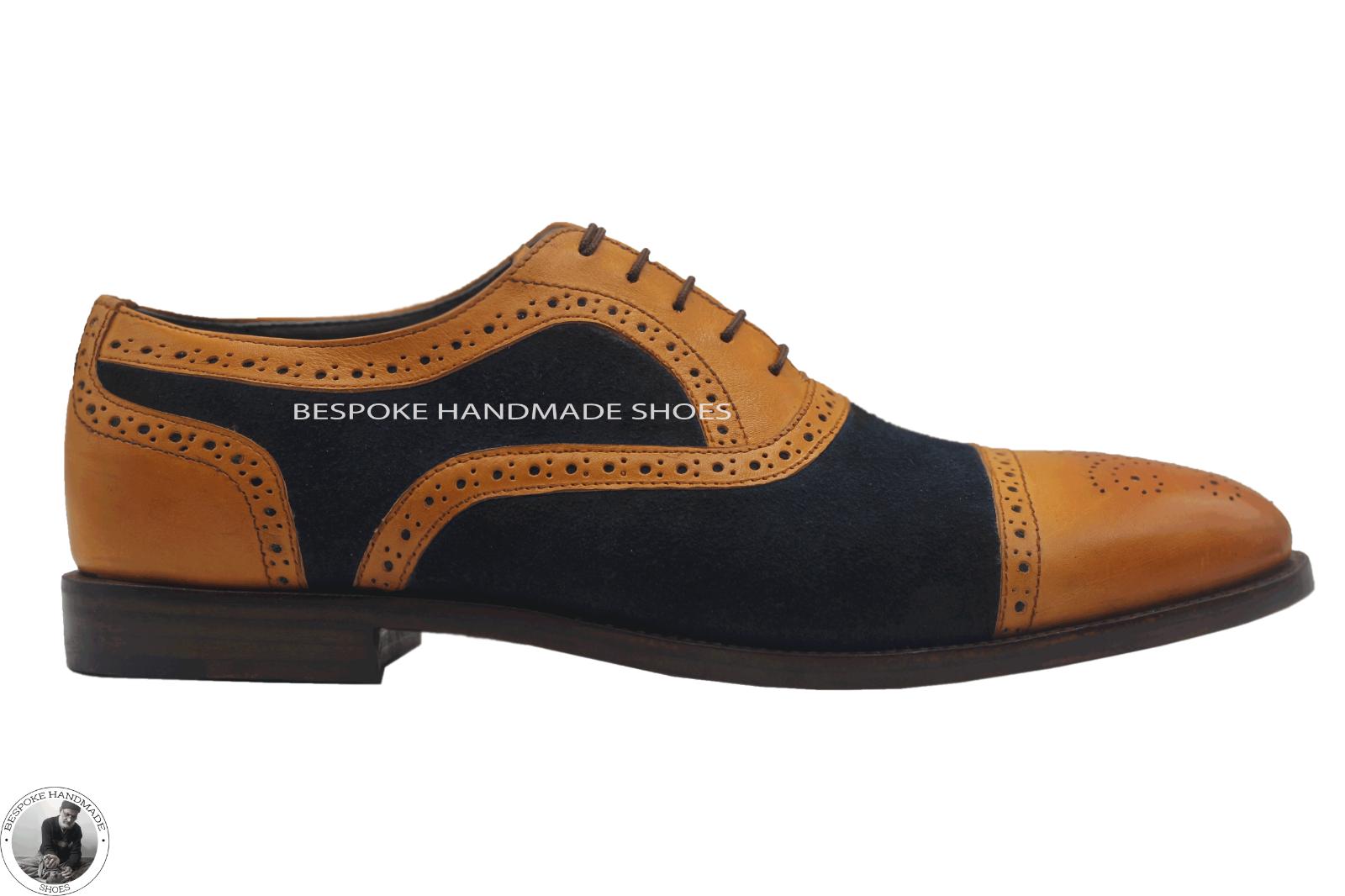 Handgemachte Herren zweifarbig Tan Leder und blau Wildleder Oxford Wingtip Schuh