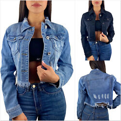 DAMEN CROP JEANSJACKE CUT OUT VINTAGE KURZ DESTROYED DENIM BLAU BLOGGER XS-XL