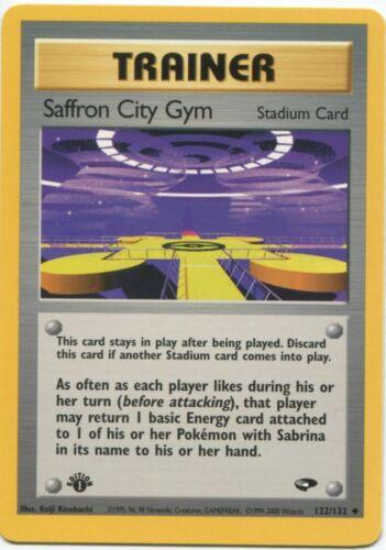 Trainer Gym Challenge Pokemon Card EX-NM Saffron City Gym 122//132 1st Ed