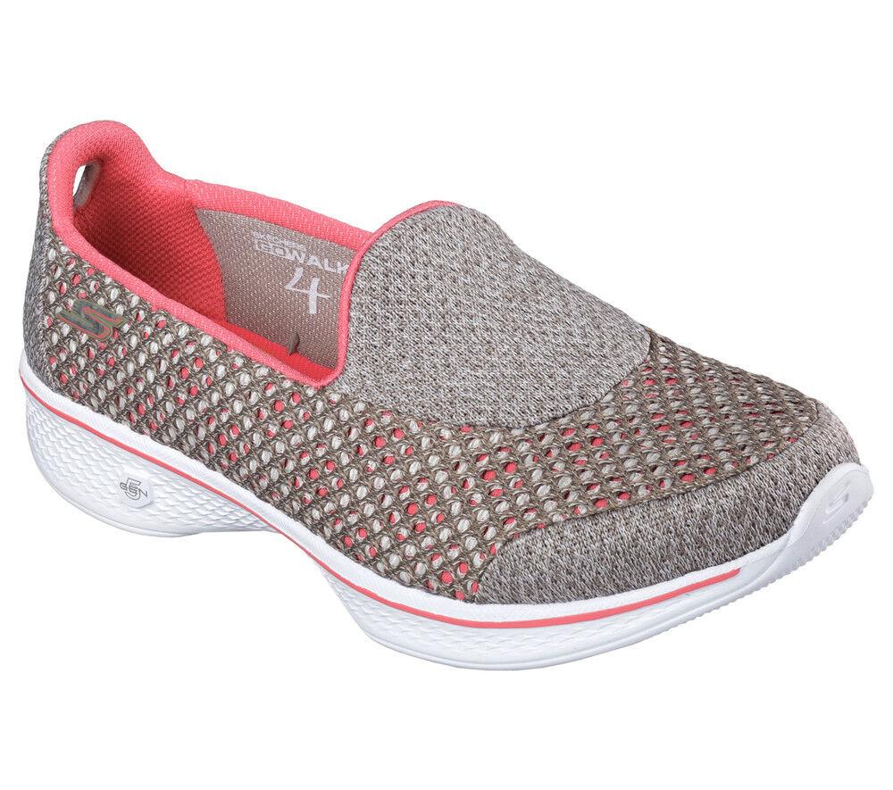 NEU SKECHERS Damen Fitness Turnschuhe Loafer Slipper GO WALK 4 - KINDLE Grau/Beige