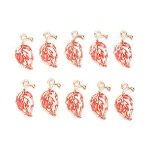 10Pcs//Lots Enamel Alloy Leaf Leaves Charms Pendants DIY Craft Jewelry Findings