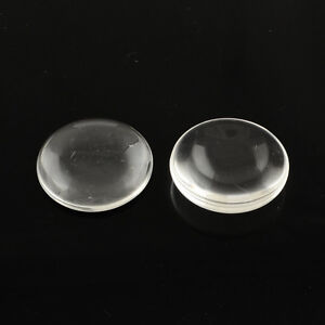20-Klare-GLAS-CABOCHON-Schmuck-Rund-25-mm-Basteln-Super-Optik-A-Grade-R205