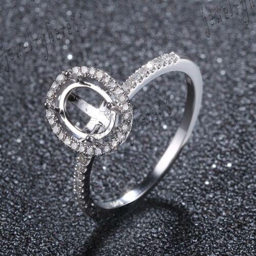 8x6mm Oval Halo 1//5CT Diamonds Semi Mount Ring Setting Sterling Silver Jewelry