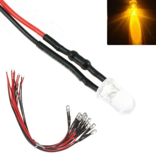 LEDs 5mm amarillo claro con cable//galon LED para 12-16v S1108-10 unid