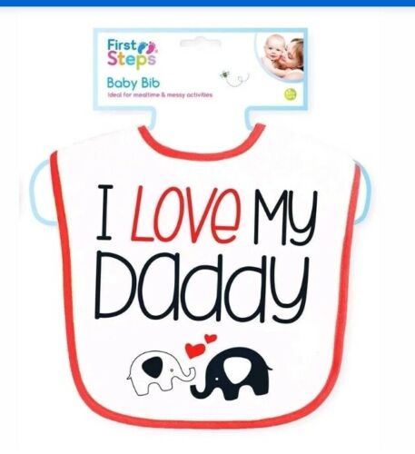 Red and White with Elephants Baby Bibs I Love My Mommy//Daddy in Black
