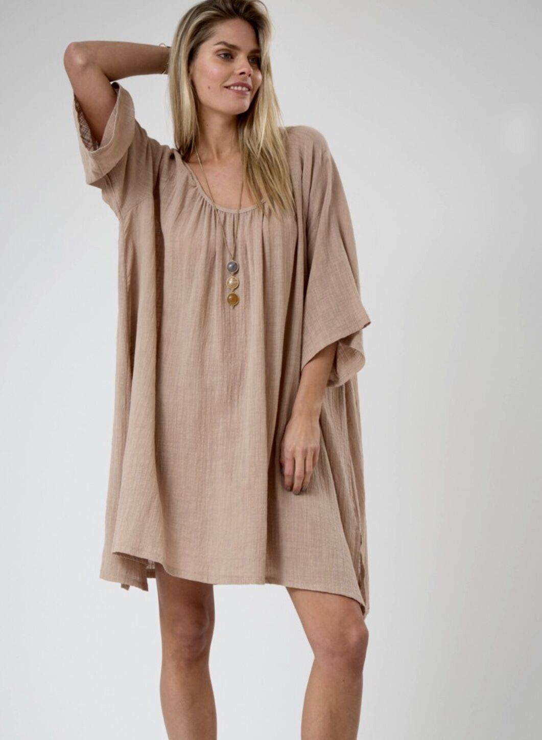 NEW nude tan Gauze Oversized Swing Tunic Dress semi sheer wide sleeves M