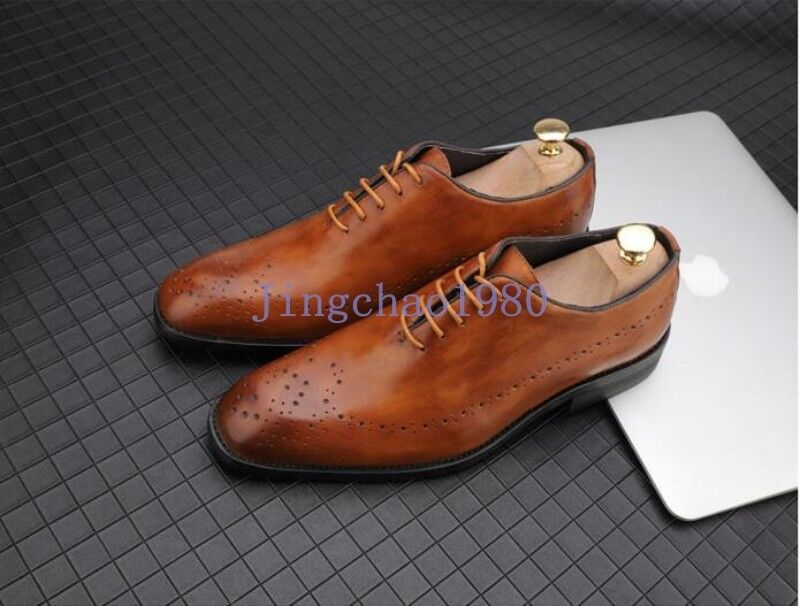 Uomo Brogue Carved British Vintage Pelle Lace Up Casual Retro Shoes Dress Form