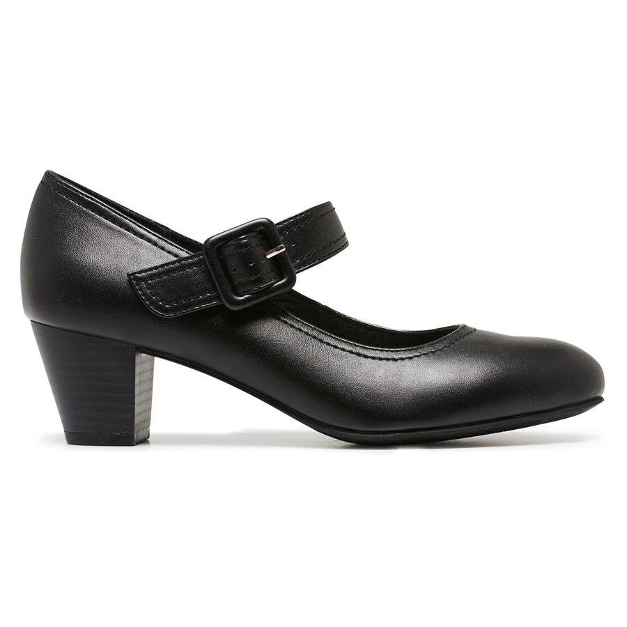 Womens Grosby Isli Leather Black Buckle Strap Heel Work Formal Comfort shoes